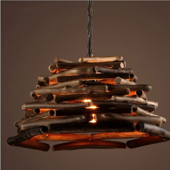 contemporary pendant light with black painting and tiger wood veneer lampshade