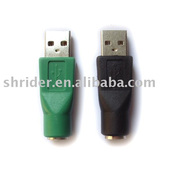 High quality green/black color USB 2.0 male to PS2 female adapter/ converter