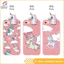 Cute cartoon 3D horse pattern custom phone cover tpu unicorn case for iPhone 8