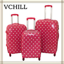 Cute pink polka dot luggage travel hard abs cheap suitcase