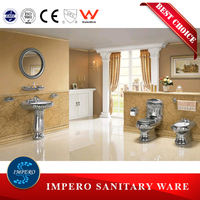 big size toilet for top hotel, gold color toilet/basin/bidet, red/blue/black gold toilet
