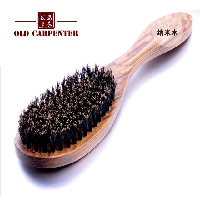 Natural wood color mahogany OEM hair beard wild boar bristles