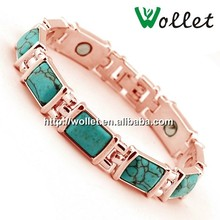 2015 wollet fashion jewelry wholesale 316l gold stainless steel bio magnetic bracelet with turquoise