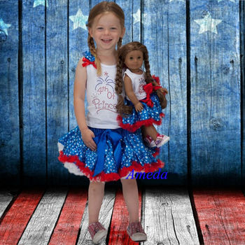 "Girl and 18"" Doll Blue Star Pettiskirt Tutu 4th July Princess Party Dress Outfit"