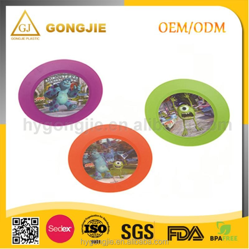 Factory direct lovely wholesale custom print plastic plate food tray dinner plate