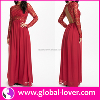 Best quality red long sleeve backless muslim prom dresses