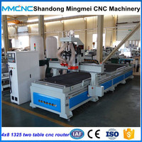 Double worktable cnc router machine for wood furniture making production line