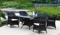 2016 new dark color airy light wicker outdoor home and commercial dining table with high back chair restaurant
