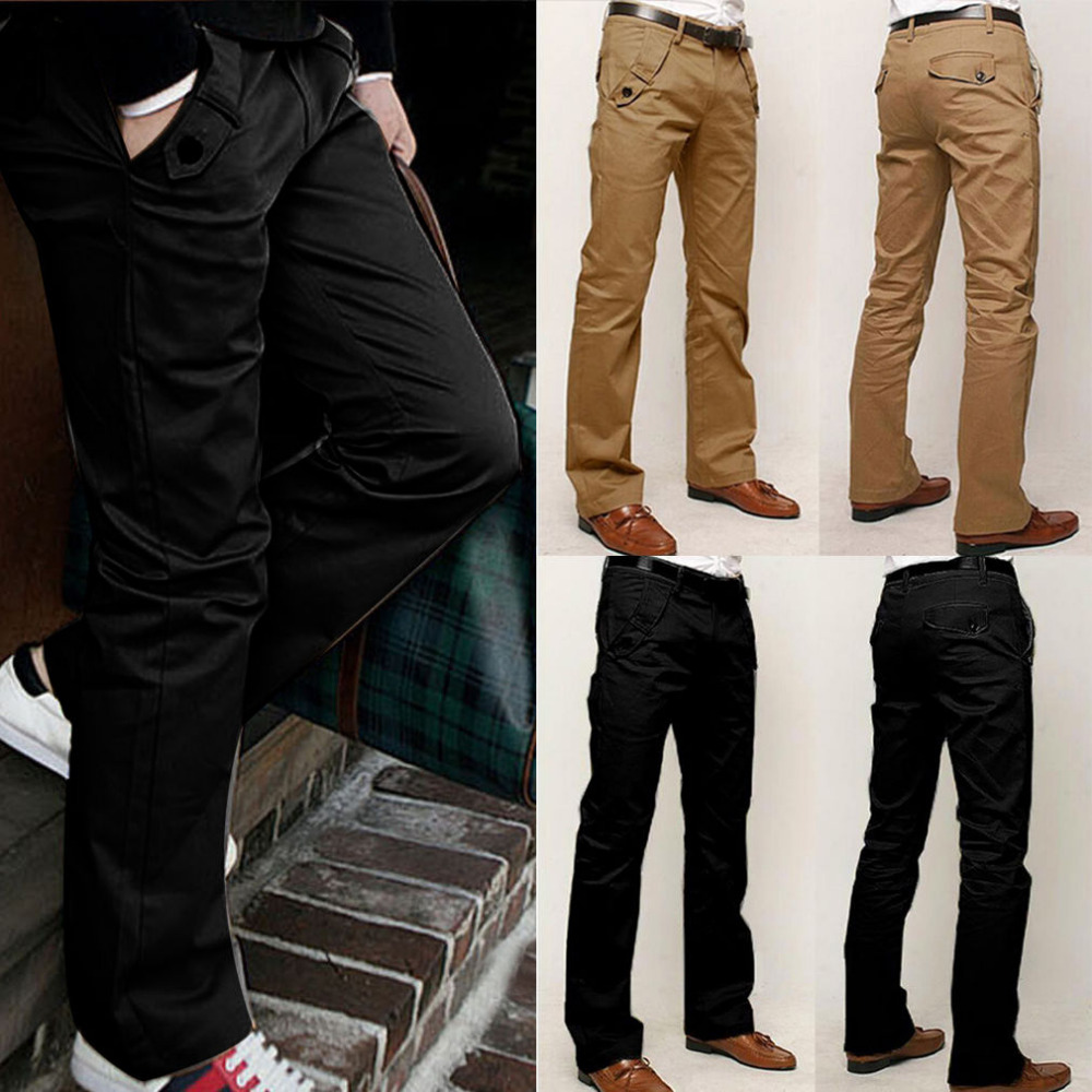 NEW Men's Skinny Casual Pencil Dress Pants Slim Straight-Leg Leisure Trousers