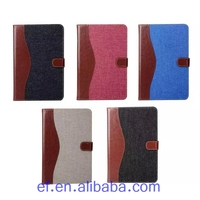 Factory price Jeans material mix colors wallet leather case for iPad mini 4 with credit card holder