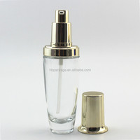 50ml clear Glass Bottle Packaging Empty Cosmetic Glass Lotion / Serum Bottle with Pump