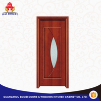 Top quality WPC door with frosted glass panels inserts 1 hours fire rated interior doors
