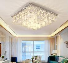 100CM rectangular stainless steel crystal ceiling light chandelier with clear long crystal