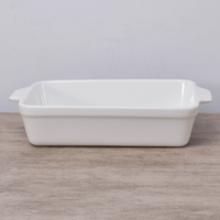 Rectangle shape ceramic white baking dishes pans / custom nonstick baking pan with double handle