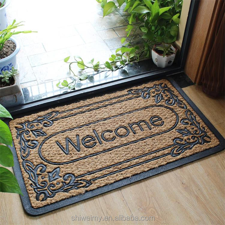 WELCOME HOME non bruch rubber coir door mat