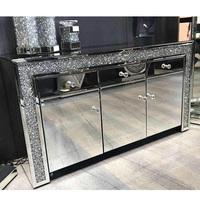 Fashion design decorative crystal diamond wall mirrored cabinet