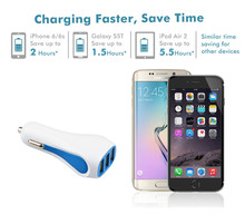 KYT-604 4.5A 3 Usb Port Car Charger Fast Charging Micro Usb Car Charger 2.4Amp For iPad Tablet