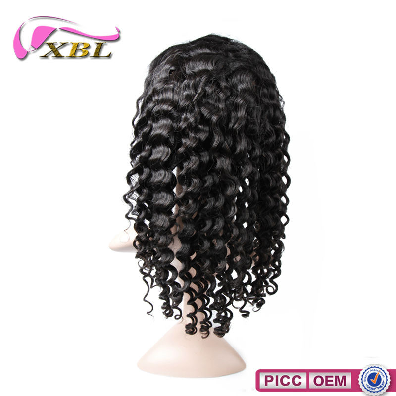 XBL 100% Virgin Human Hair Deep Wave Cambodian Hair Full Lace Wig