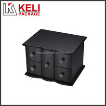 High end black wooden jewelry storage box with 5 compartments