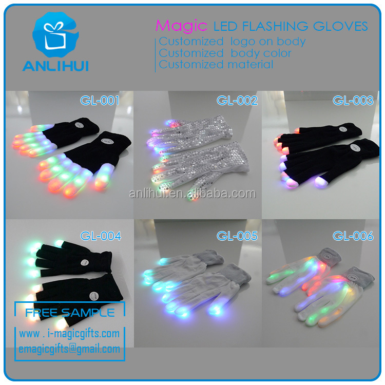 NEW mode flashing multicolor led gloves