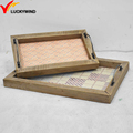 custom printed antique wooden tray with metal handle