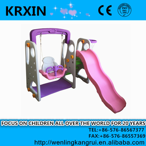 plastic indoor HDPE small style kids swing and slide set children toys