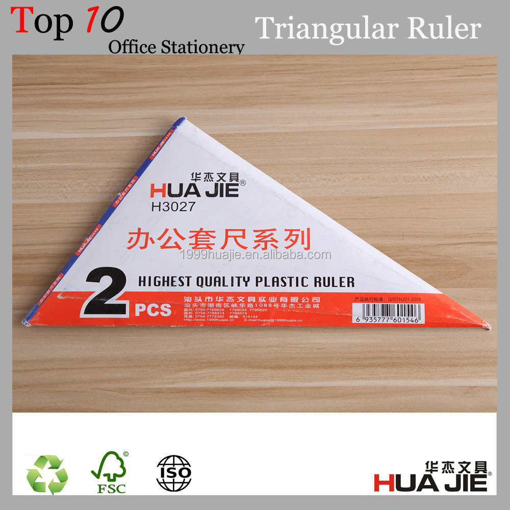 wholesale multifunction transparent plastic triangular scale ruler for student / office