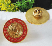 custom metal round gold lapel pin