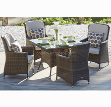 4 seater square dining table and outdoor dinner chair balcony rattan american style furniture
