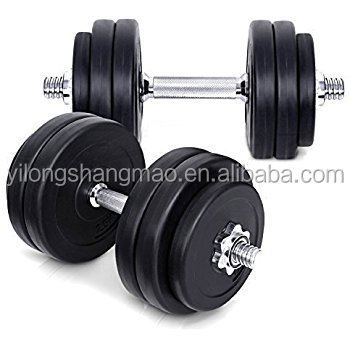 Factory Wholesale Weight Lifting Black PVC Plate Crossfit Barbell 20kg,dumbbell weight kit