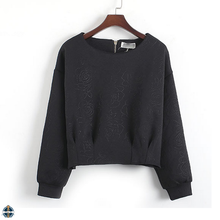 T-WH009 Young Ladies New Design Crop Top Loose Plain Sweatshirts