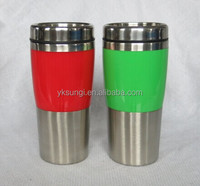 Double wall stainless steel travel coffee mug with push lid and colorful plastic body