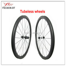 Only tubeless tire 38mm wheels, tubeless carbon wheelset bicycle 25mm wide with DT350S + Sapim spoke from Farsports