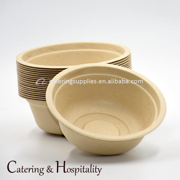 Wheat Pulp molded biodegradable disposable noshery plant fiber food rice pacakage soup bowls salad bowl