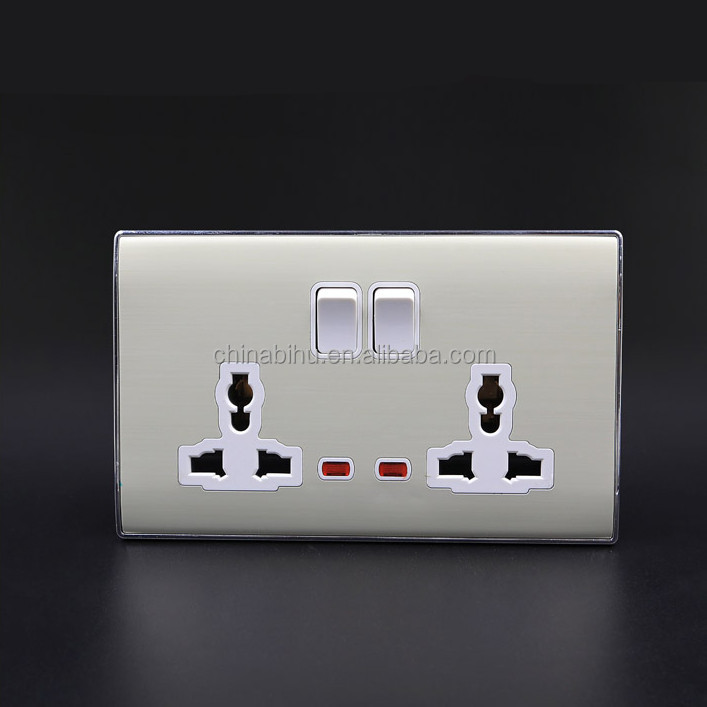 BIHU wall switch facotry OEM double 3pin universal wall socket frame hidden wall socket camera