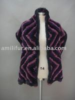 Fashion Rabbit Fur Knitted Shawl Four Colors Mixed - Hand Knitted (Style: #B186-B)