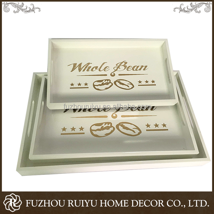 Import China Goods Classical OEM Rectangular Wooden Tray, carved wood tray, handmade wooden tray