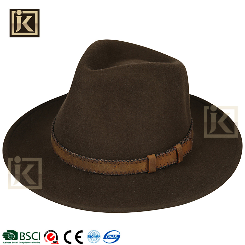 JAKIJAYI alibaba top 10 hat supplier men winter custom good quality 100% wool felt hat