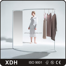 Customized garment display rack with mirror retail garment shop interior design