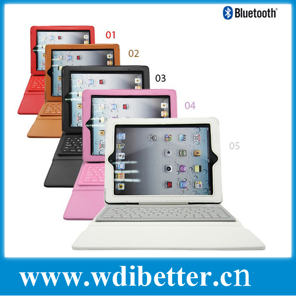 Leather Folio Keyboard Case for Apple Ipad 2 3 4 with Bluetooth Keyboard