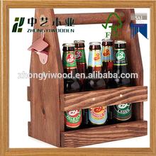 wholesale FSC high quality pine wooden caddy six beer wine whiskey glass bottle storage box tote carrier