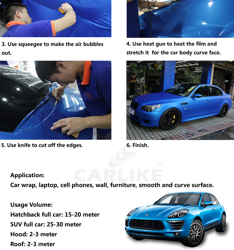 CARLIKE Waterproof Black Glossy Wrap Car Film Vinyl