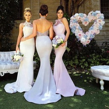New Custom Made Bridesmaid Dresses Wedding Halter Mermaid Formal Evening Dress With Bow Tie Elegant Woman Gowns