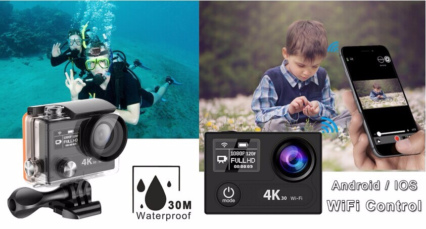 2017 Ambarella A12 remote 4k action camera remote go pro camera