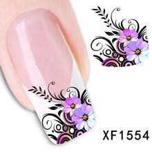 New Arrival Water Transfer Nail Art Stickers Decal Beauty Purple Flowers Black Leaf Design Manicure Tool