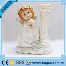 Wholesale resin cherub angel statues candle holder for home decoration