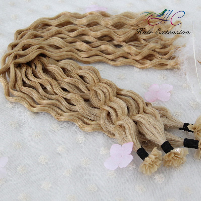 Natural Curly Style Brazilian Remy 1G Stick V Tip Hair Talk Extensions