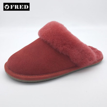 High Quality Lady indoor Handmade Austrilian Sheepskin slippers with hard sole