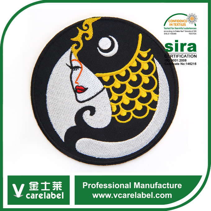 Custom Round Chinese Classical Beauty Pict Design On Embroidery Patch