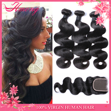 Raw 8A Virgin Hair Indian Body Wave Trade Assurance Indian Virgin Hair Bundles With Lace Closure
